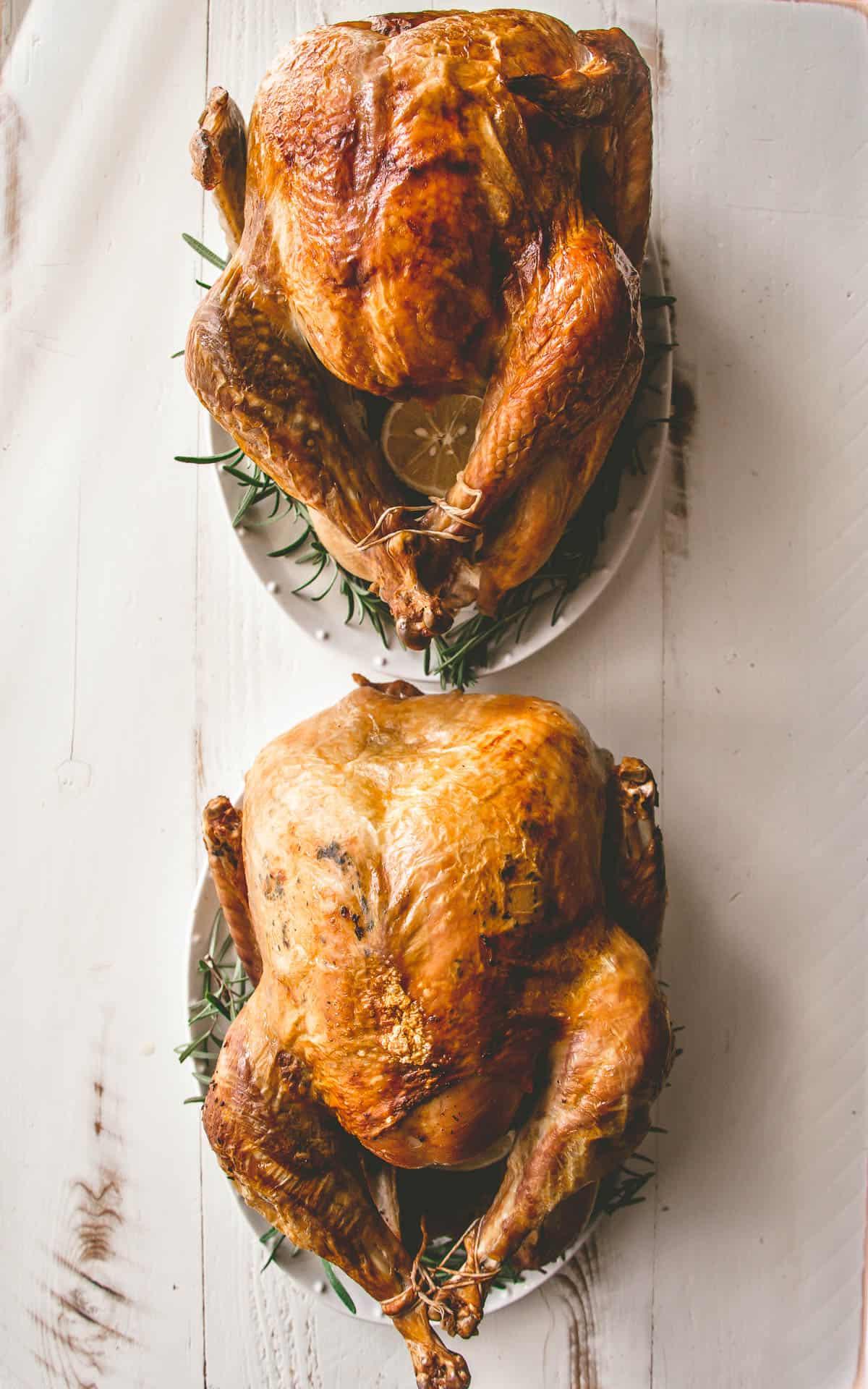 two roasted turkeys on trays