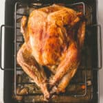 roasted turkey on a roasting rack