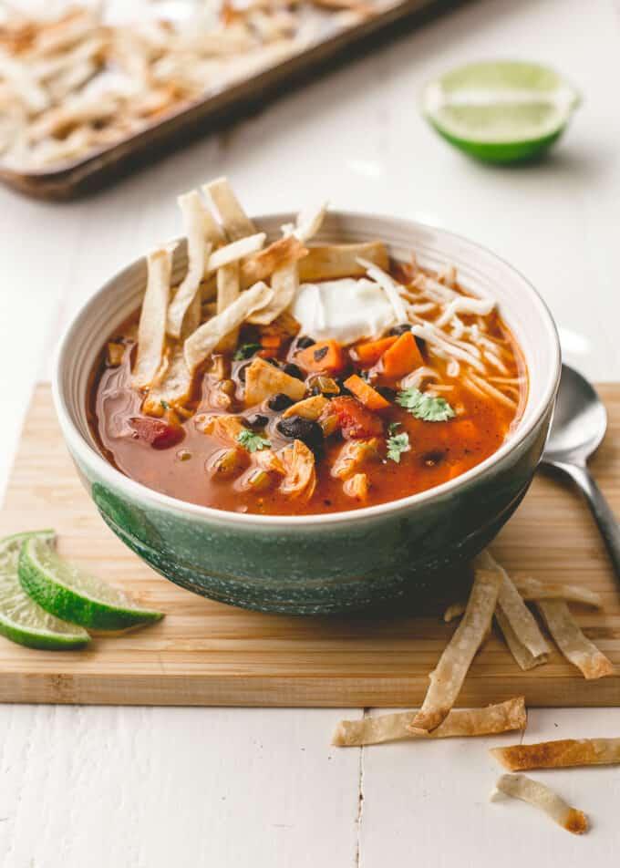 turkey tortilla soup in a blue bowl