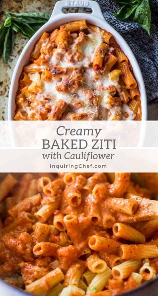 creamy cauliflower baked ziti