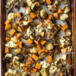 herb roasted vegetables on a sheet pan