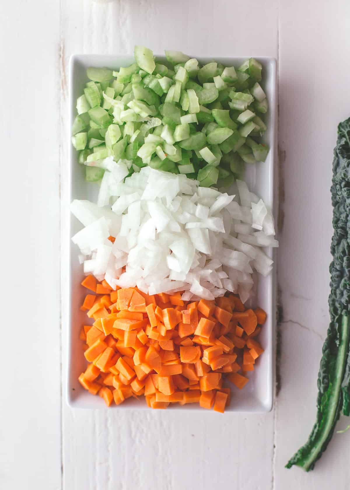 onion, celery and carrots, diced