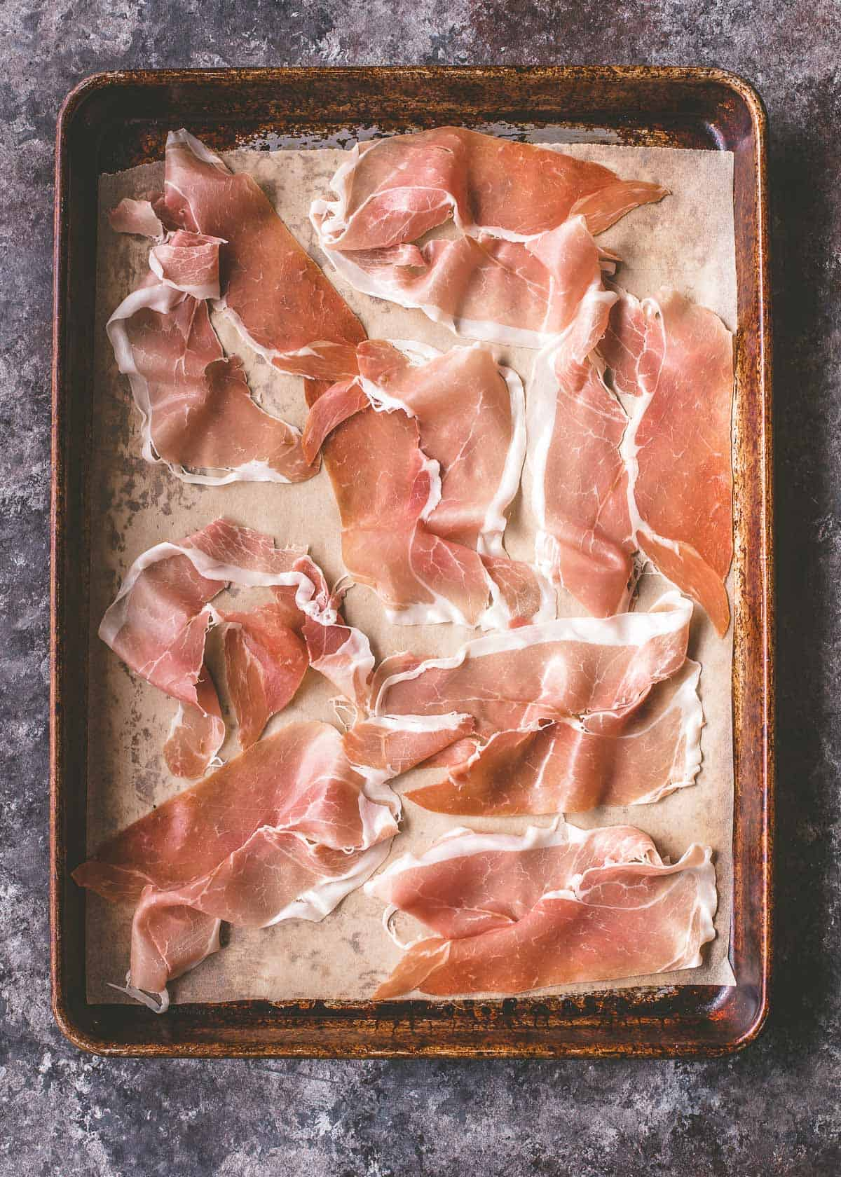 prosciutto on a sheet pan