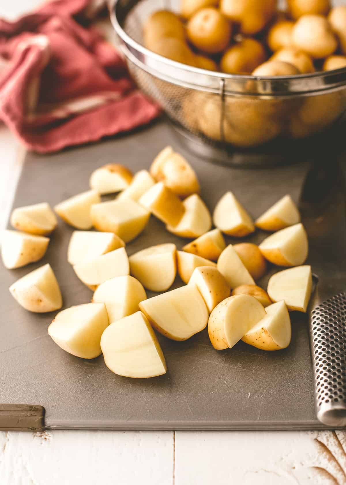 diced potatoes on a cutting board