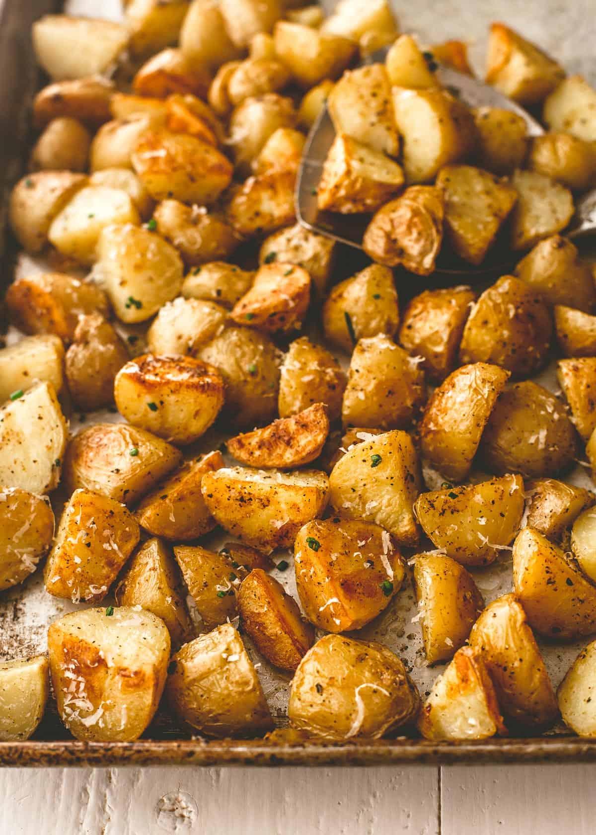 roasted potatoes on a sheet pan