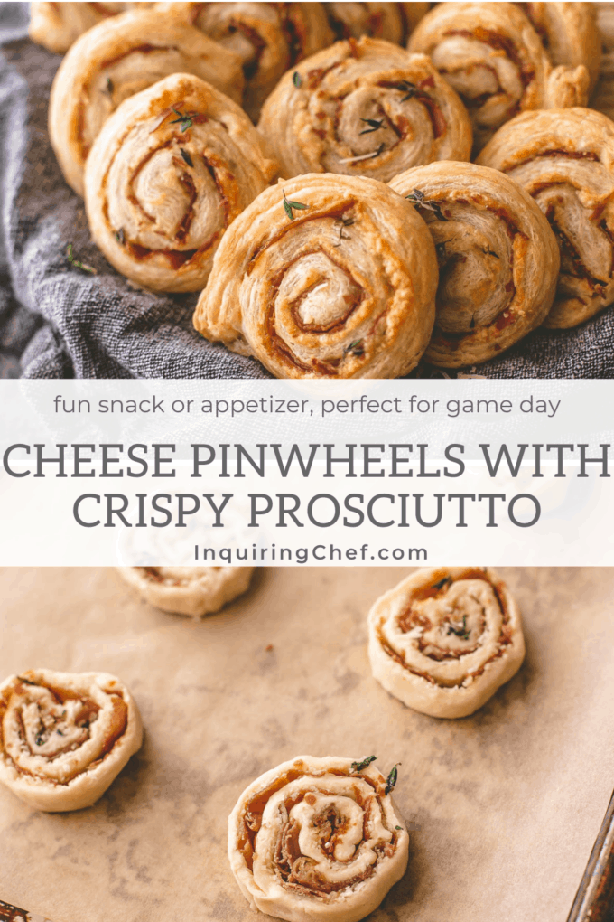 Cheese Pinwheels with Crispy Prosciutto