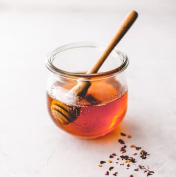 honey in a small glass jar