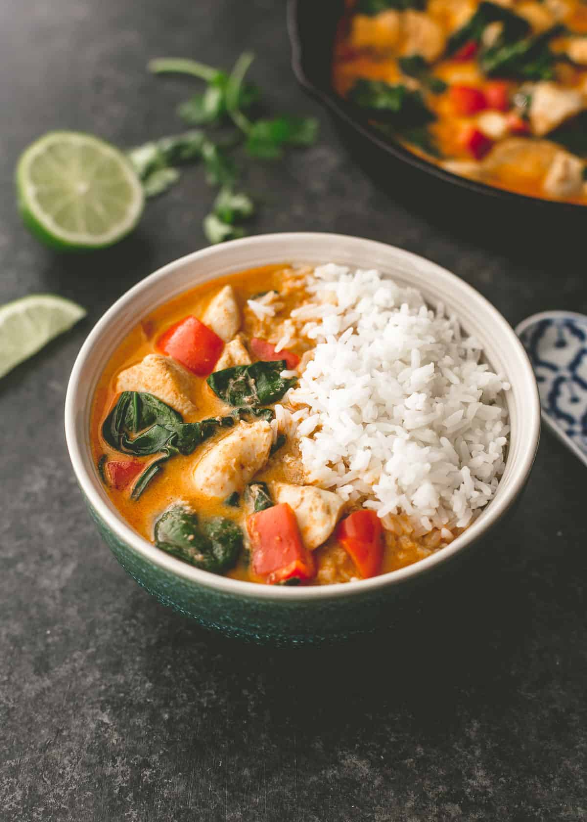 coconut chicken curry in a bowl on a grey countertop