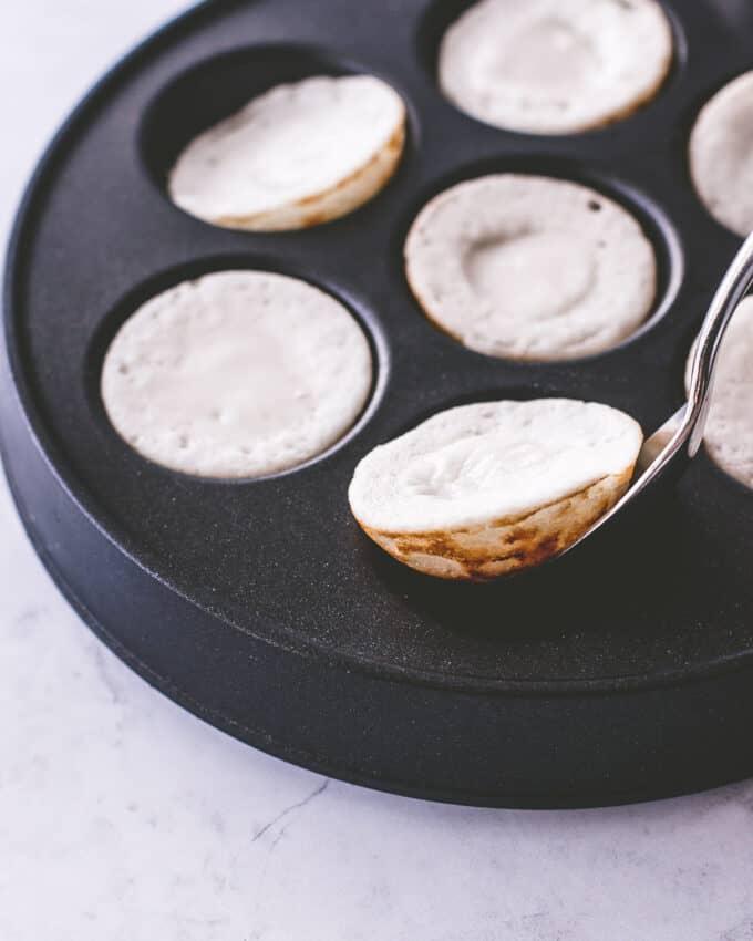 thai coconut pancakes in a pan
