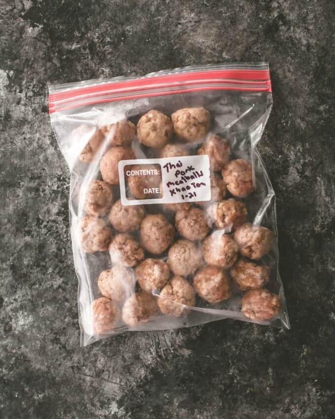 meatballs in a freezer bag