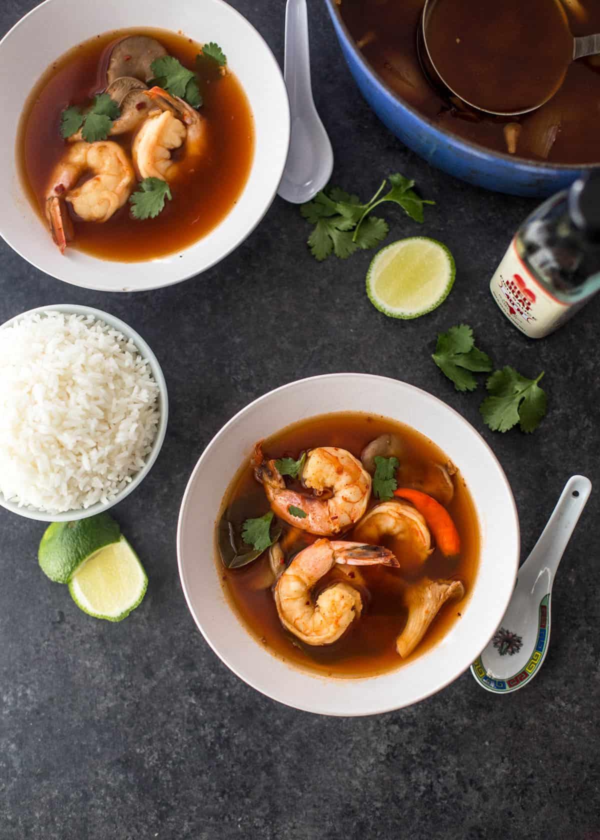 Thai shrimp soup in white bowls
