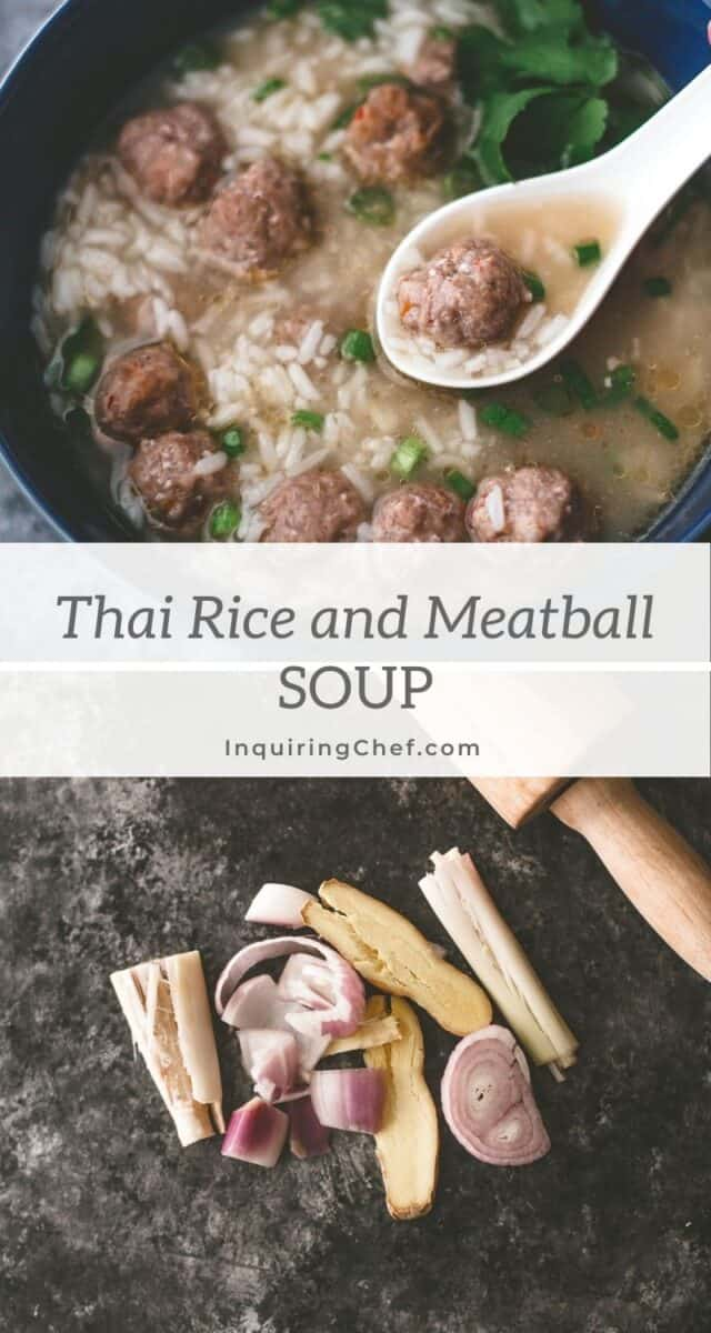 thai rice and meatball soup