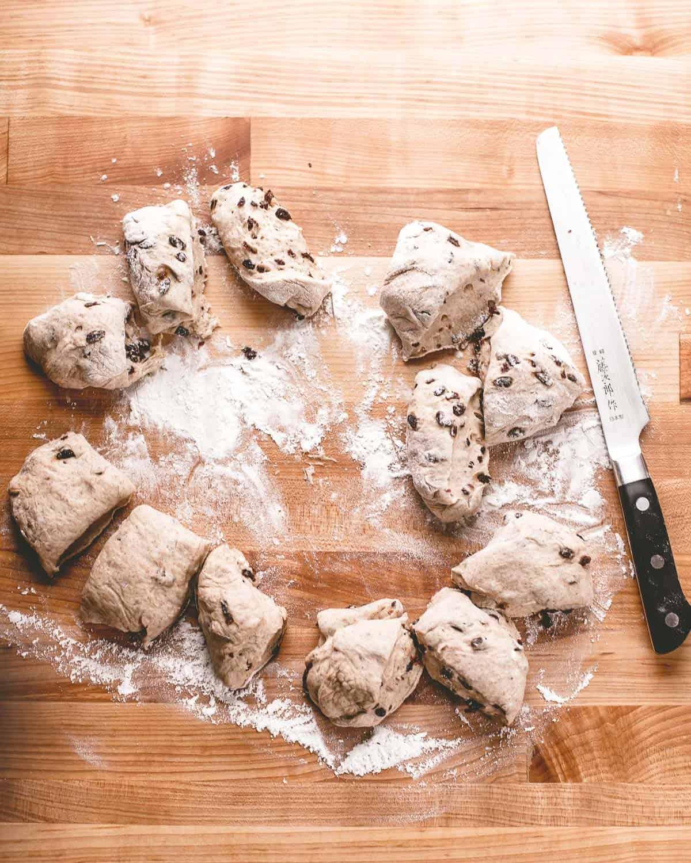 cutting dough into smaller pieces