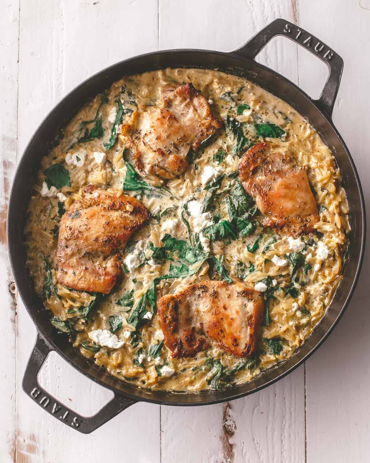 chicken and pasta in a pan