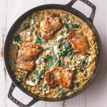 orzo and chicken in a dutch oven