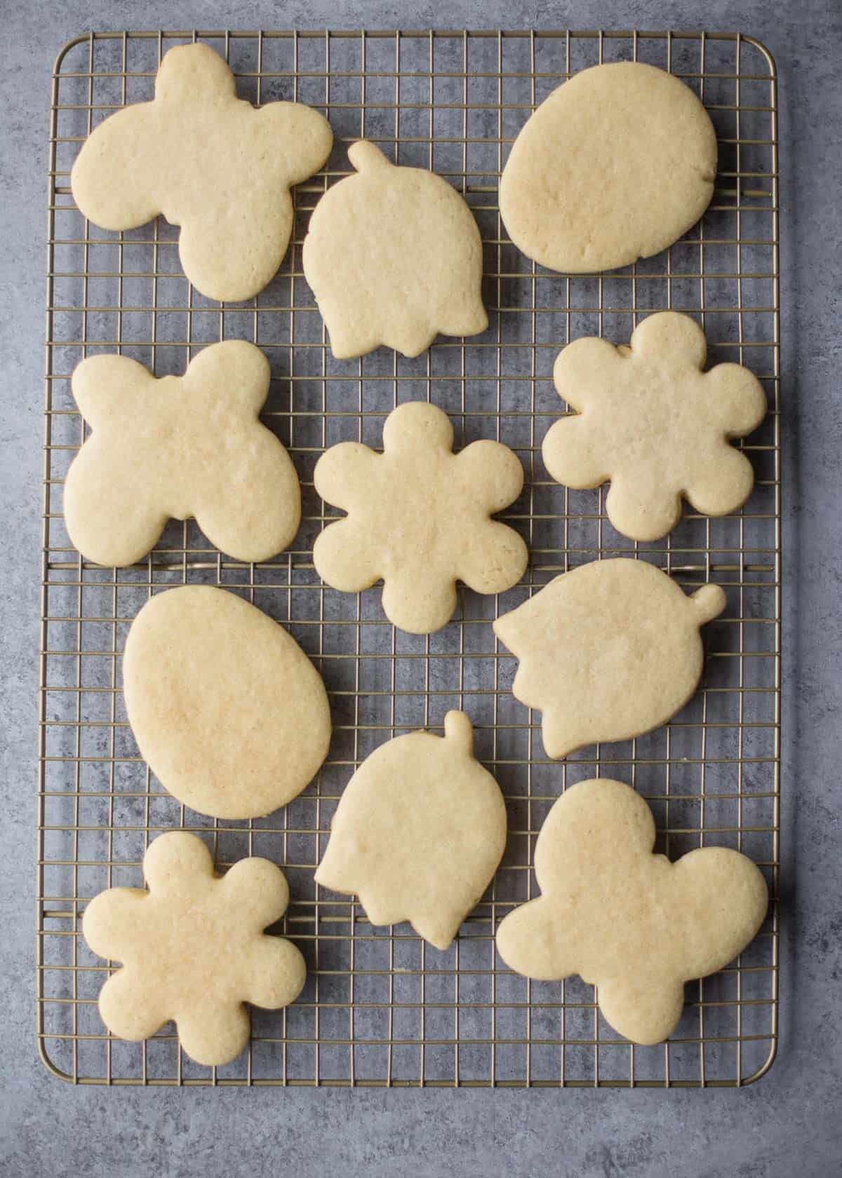 baked soft sugar cookies on a cooling rack