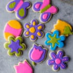 decorated sugar cookies on a grey countertop
