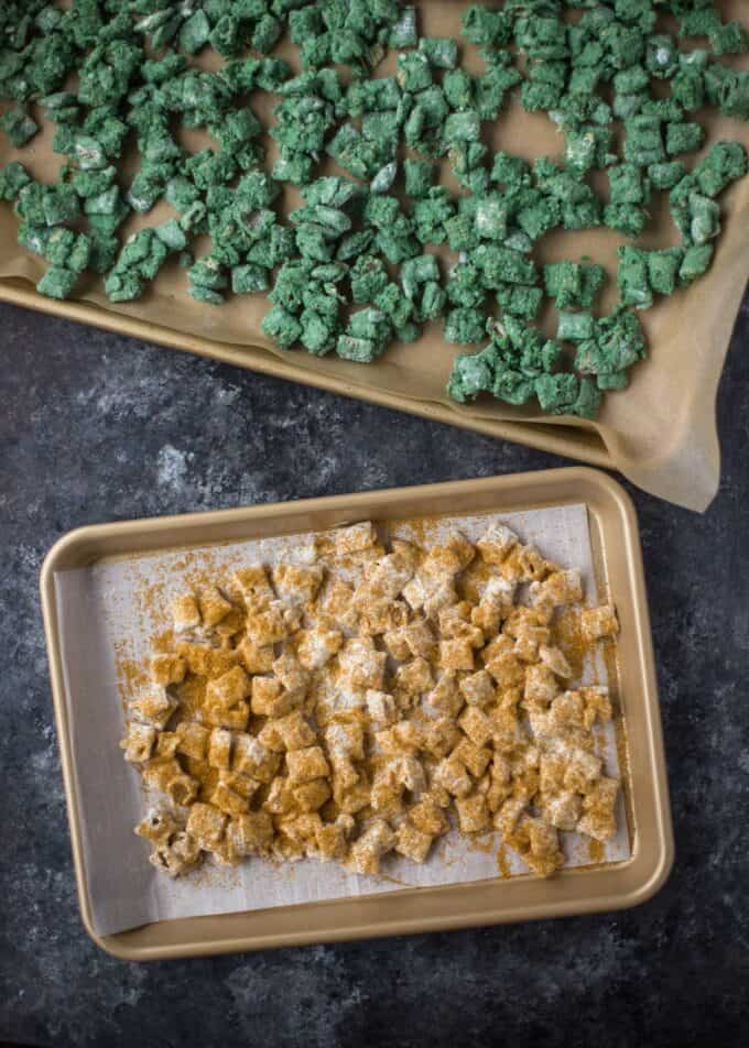green and gold puppy chow on sheet pans