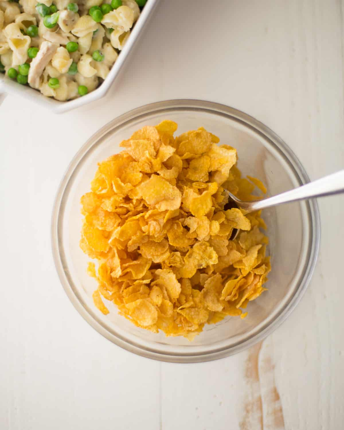 cornflakes in a glass bowl
