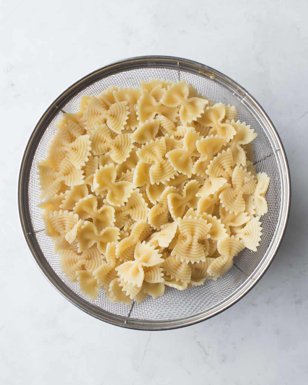 noodles in a colander