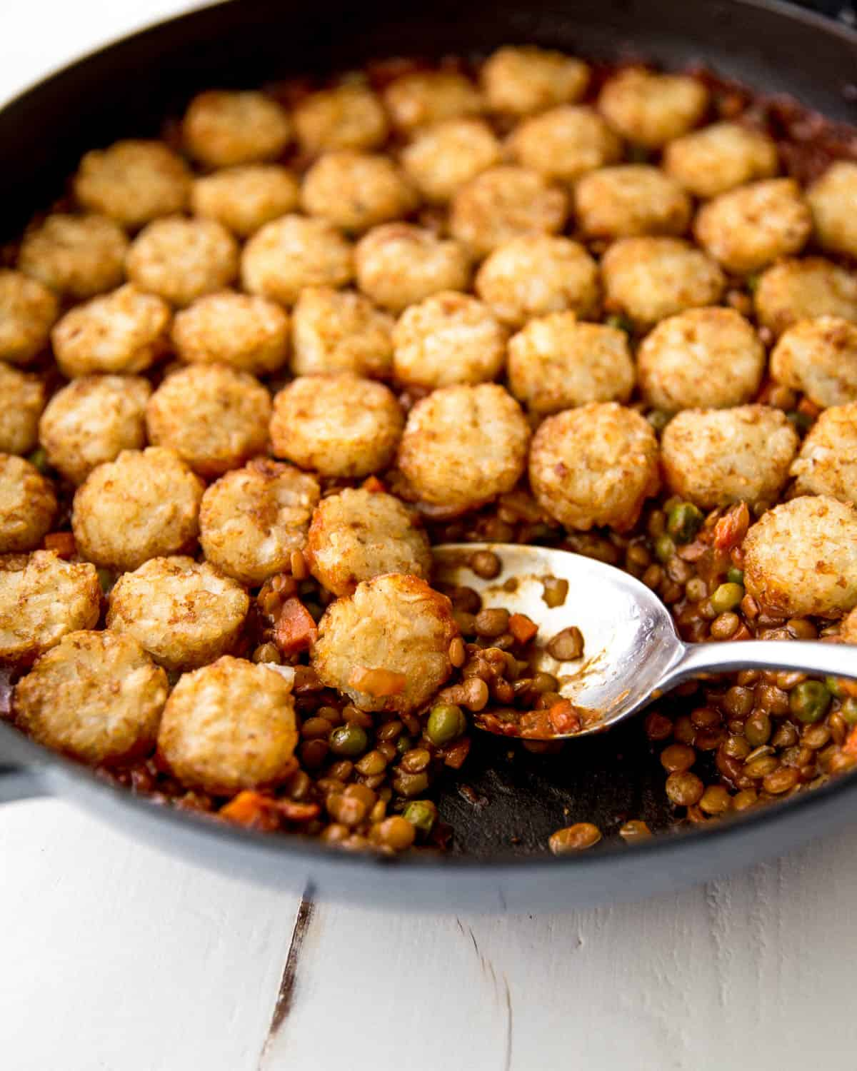 a spoonful of tater tot casserole