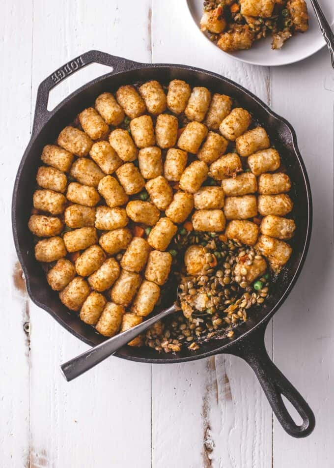 casserole in a cast iron skillet