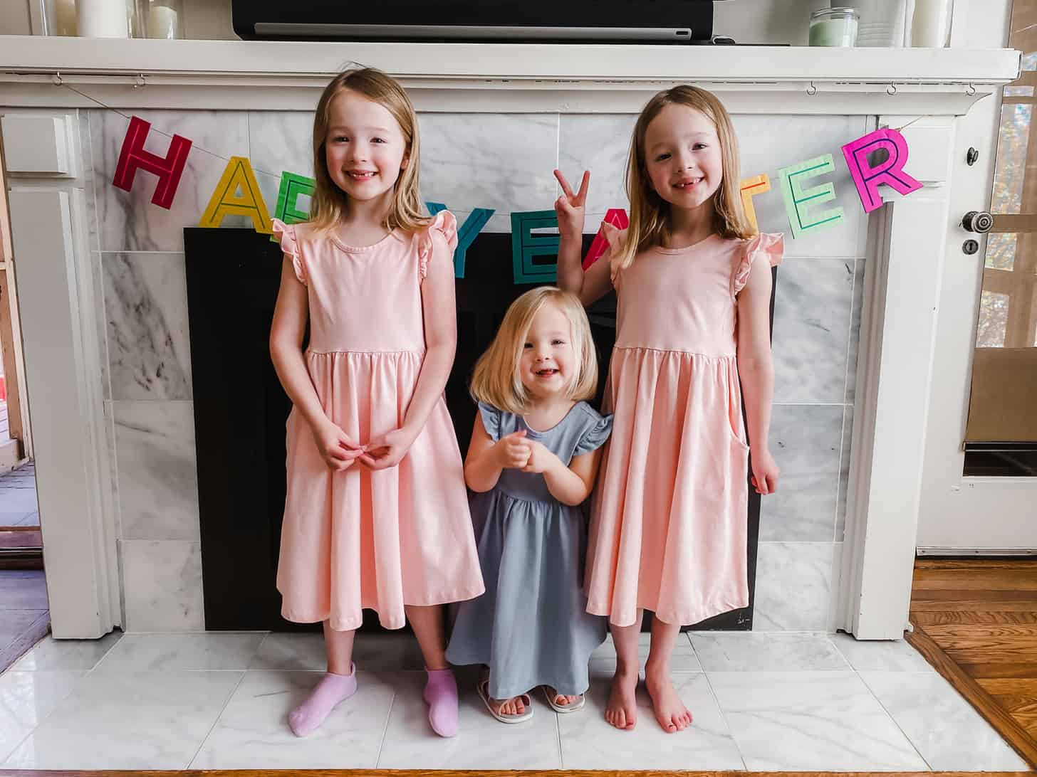Molly, Clara and June on Easter 2021