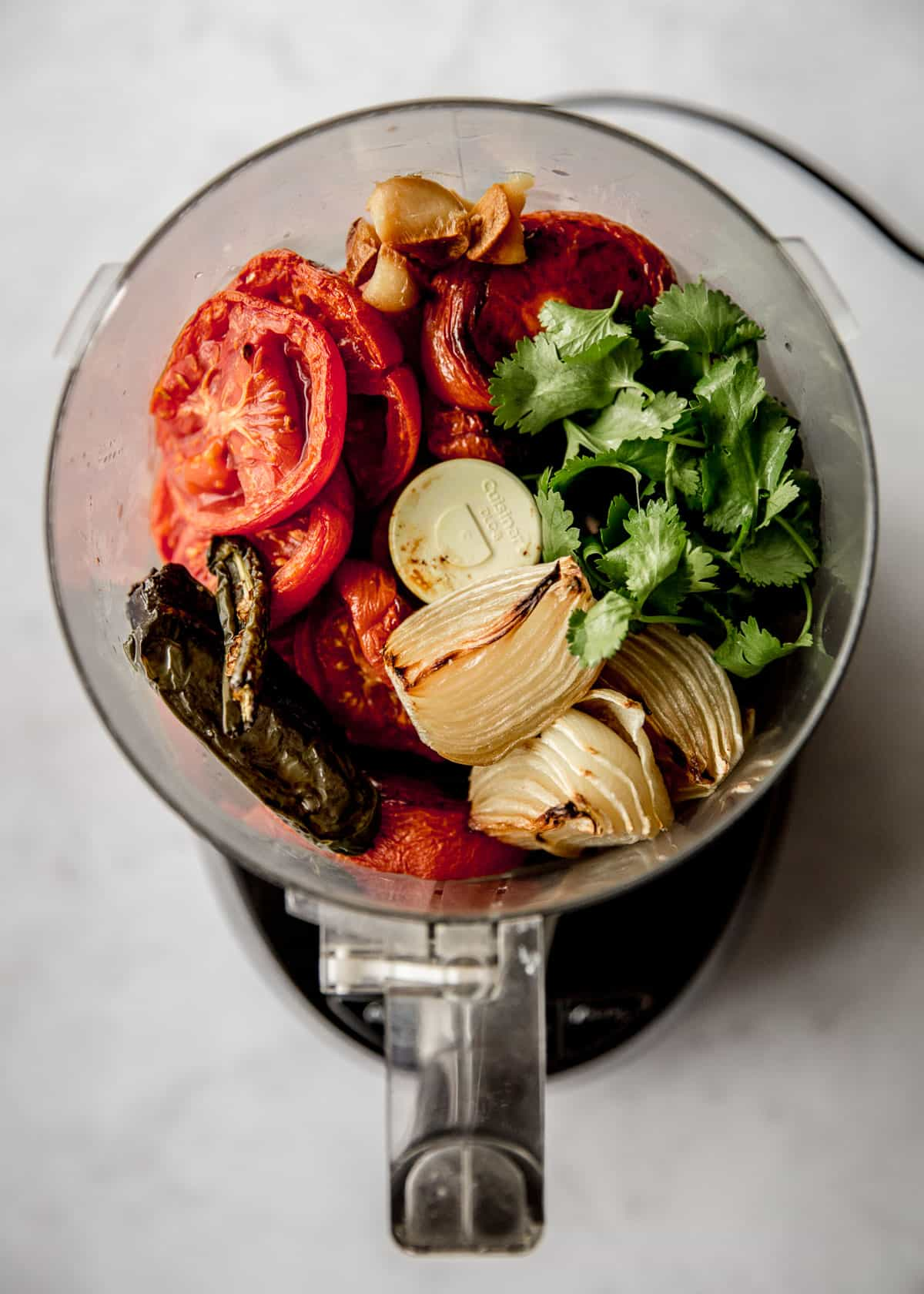 roasted vegetables in a food processor