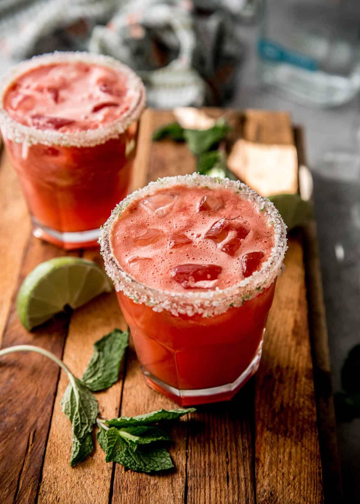 watermelon margarita in a clear glass