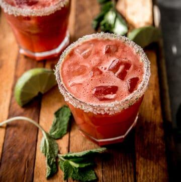watermelon margaritas in clear glasses