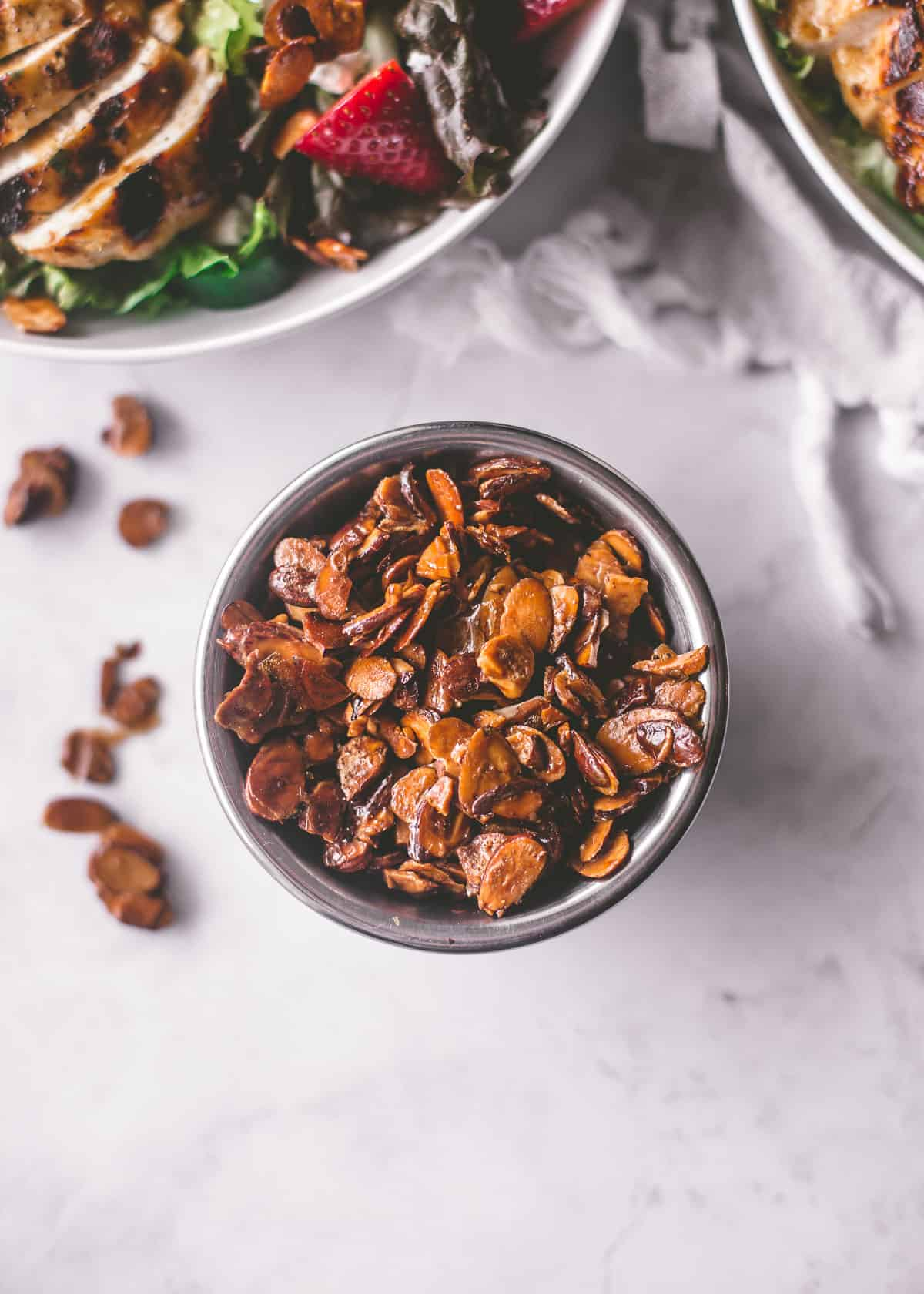 candied almonds in a small bowl