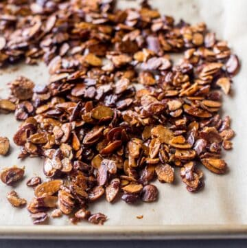 almonds on a parchment lined sheet pan