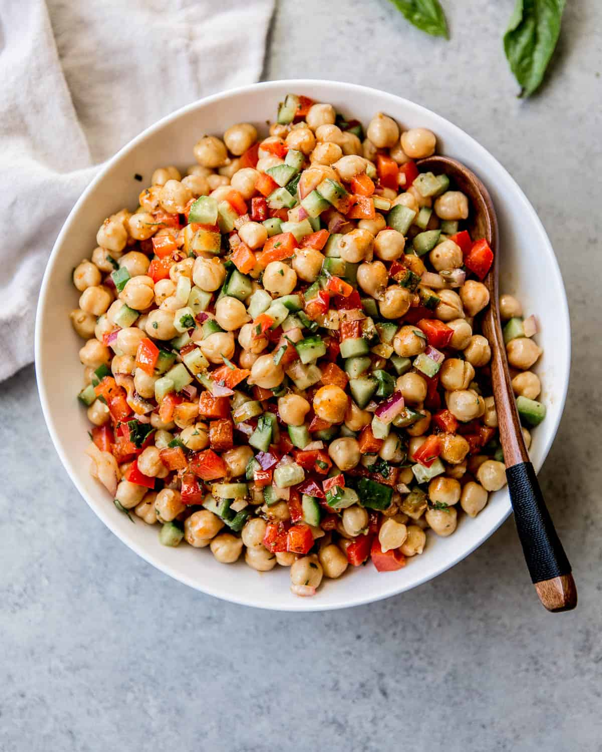 chickpeas and vegetables in a white bowl