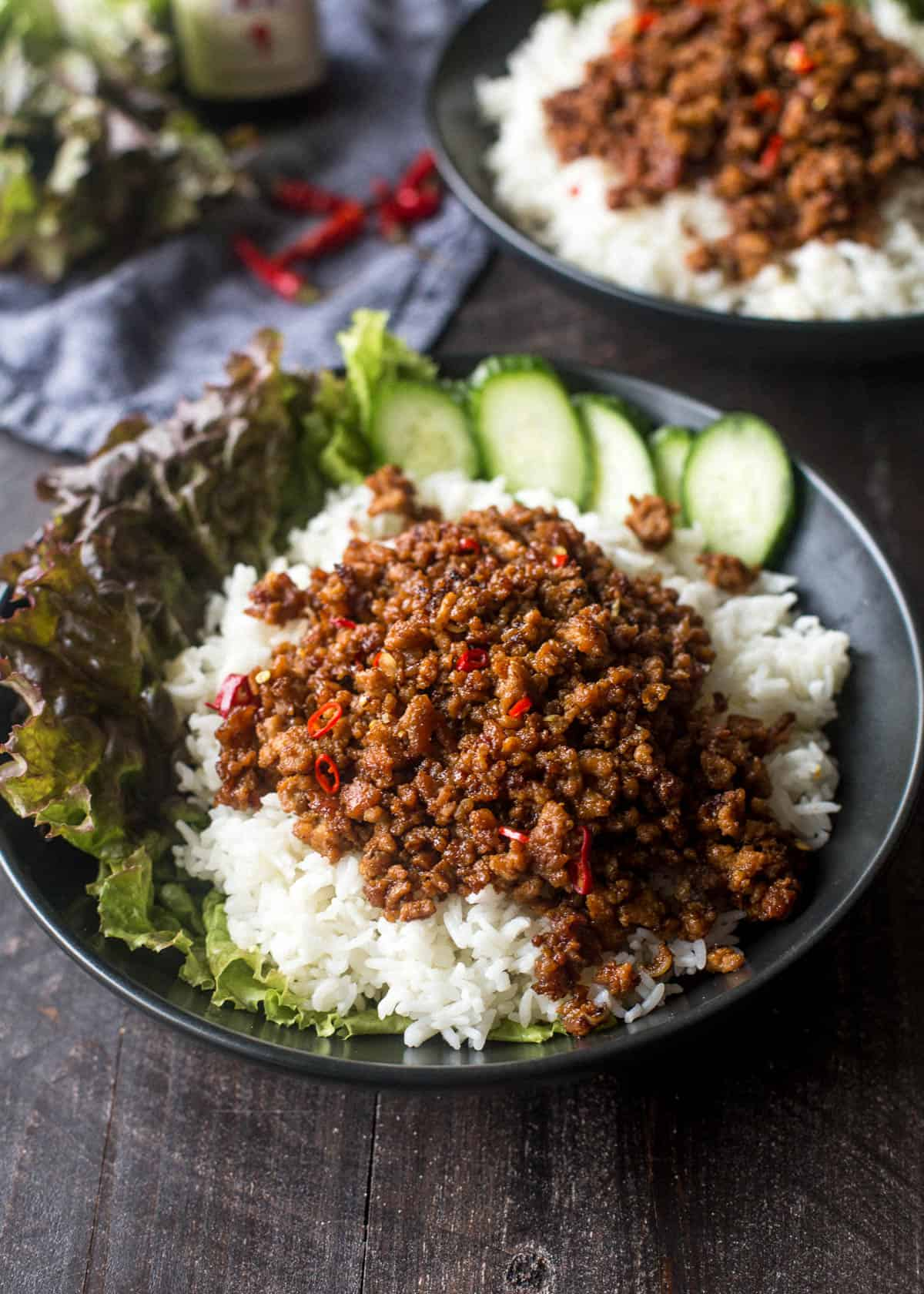 pork and rice bowls with cucumber and lettuce