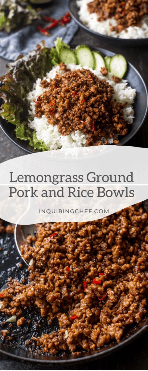 lemongrass ground pork and rice bowls