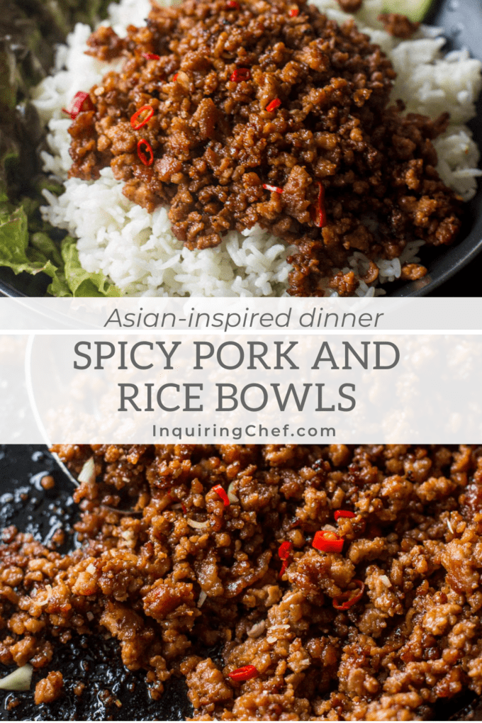 ground pork and rice bowls