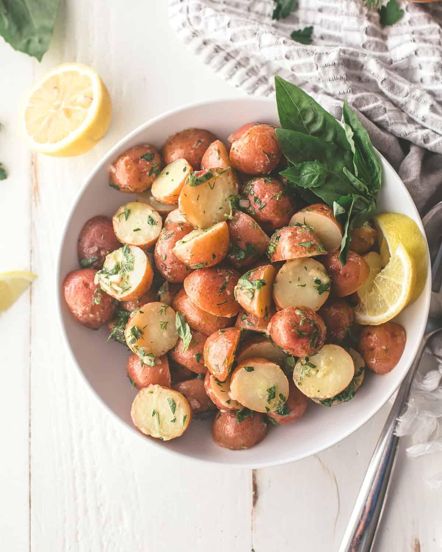 potatoes in a white bowl