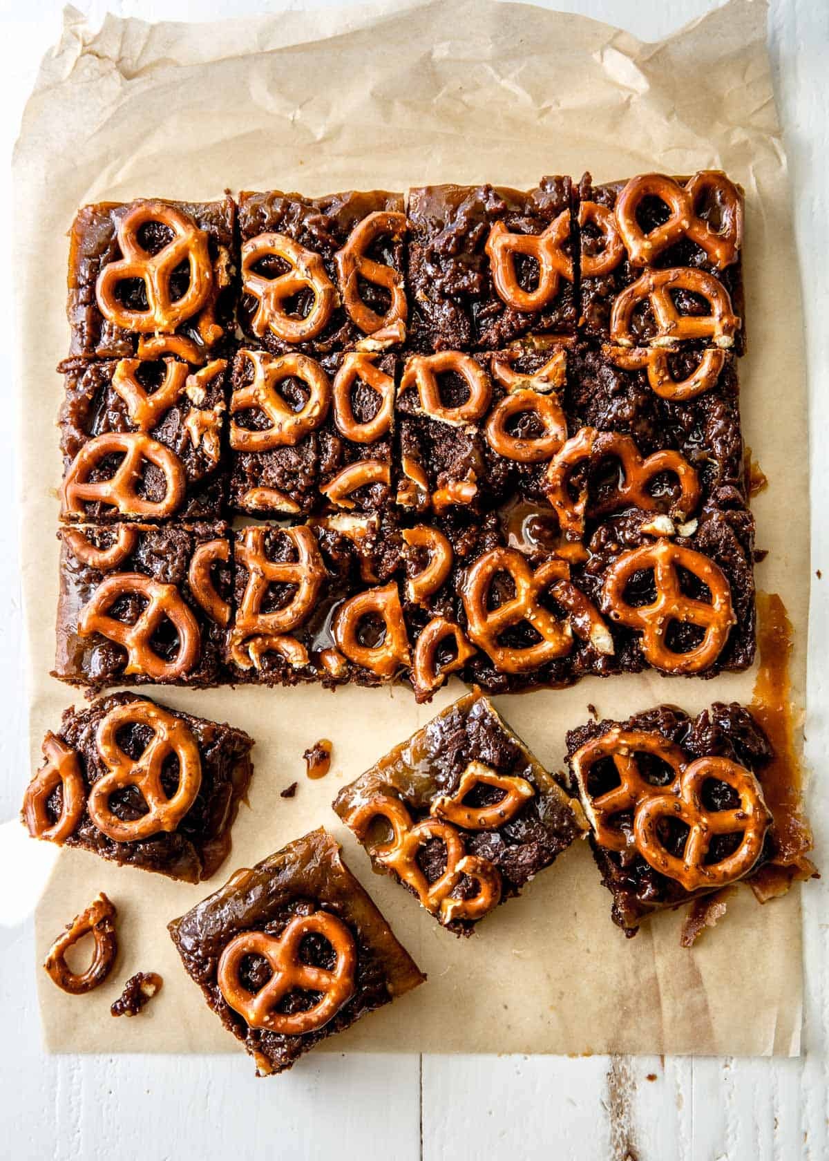 brownies on a piece of parchment paper
