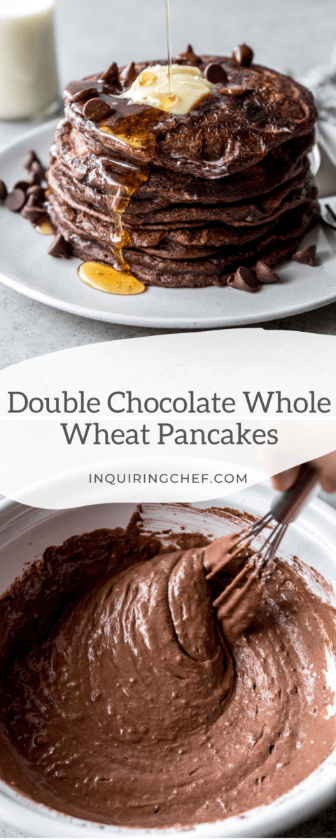 double chocolate whole wheat pancakes