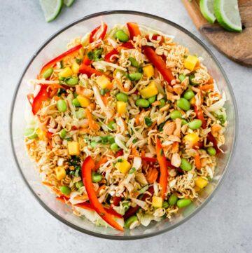 square image of crunchy Thai ramen noodle salad