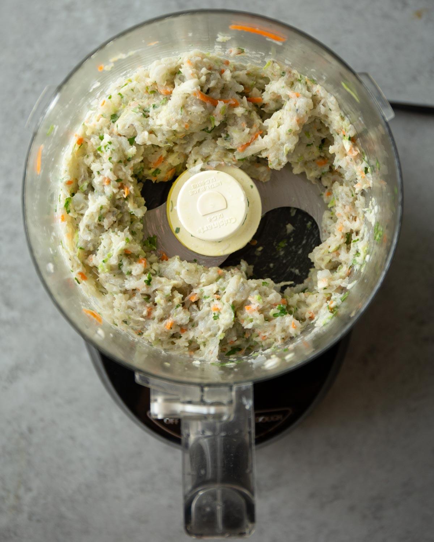 shrimp mixture in a food processor
