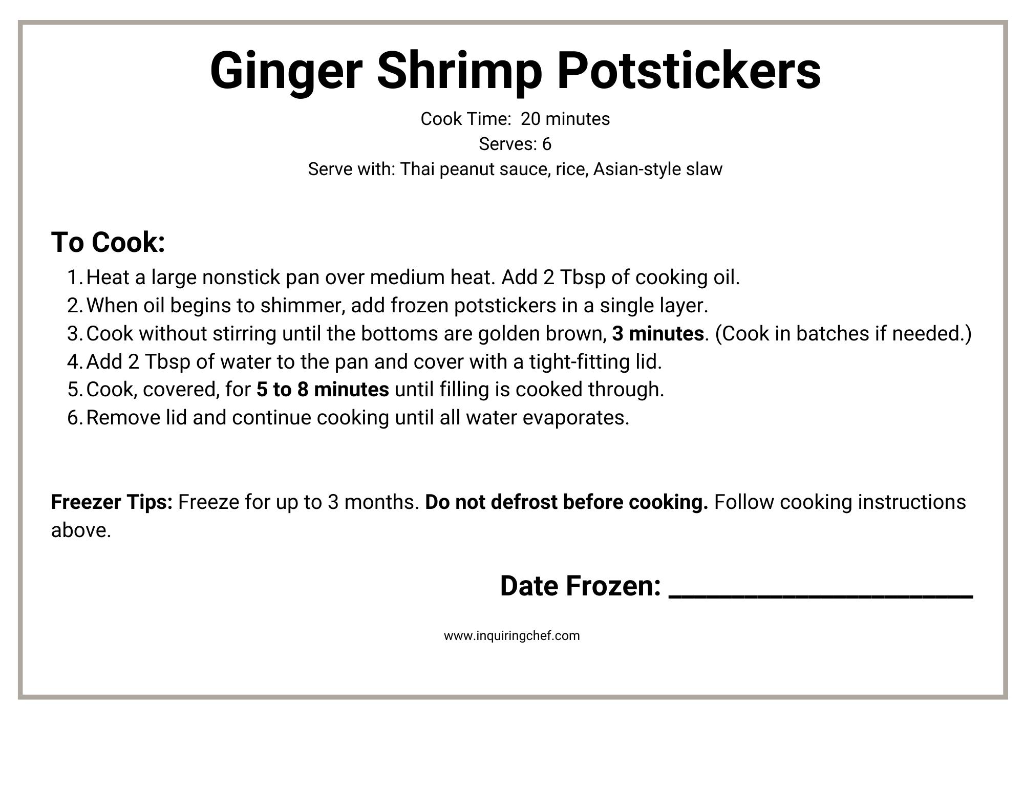 ginger shrimp potstickers freezer label