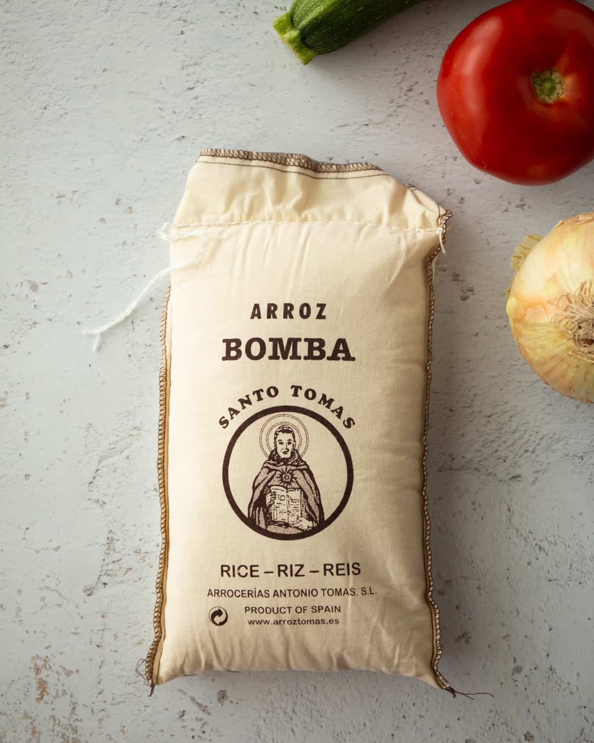 a bag of bomba rice on a grey countertop
