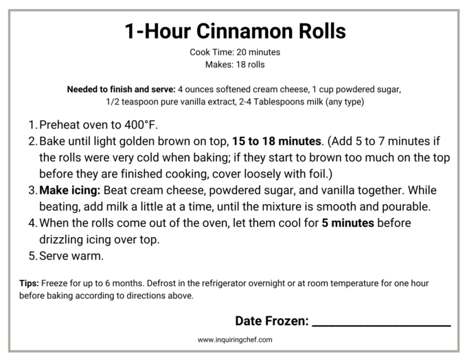 cinnamon rolls freezer labels