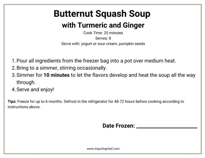 butternut squash soup freezer label