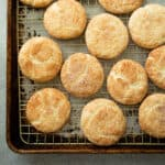 snickerdoodle cookies on a sheet pan