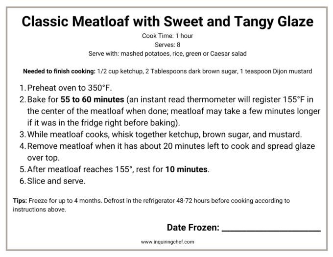 classic meatloaf freezer label