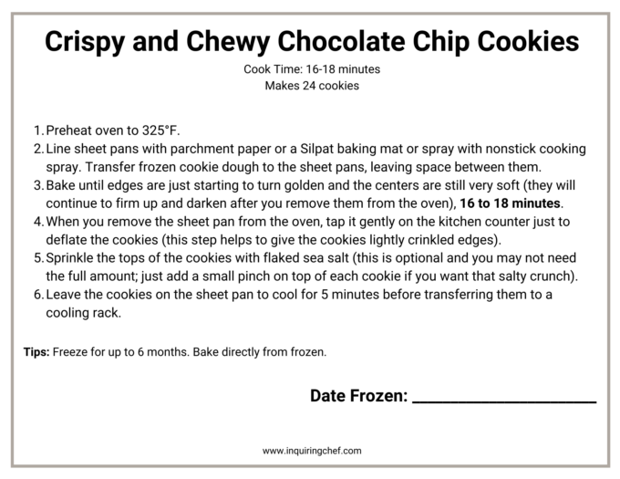 crisp and chewy chocolate chip cookies freezer label
