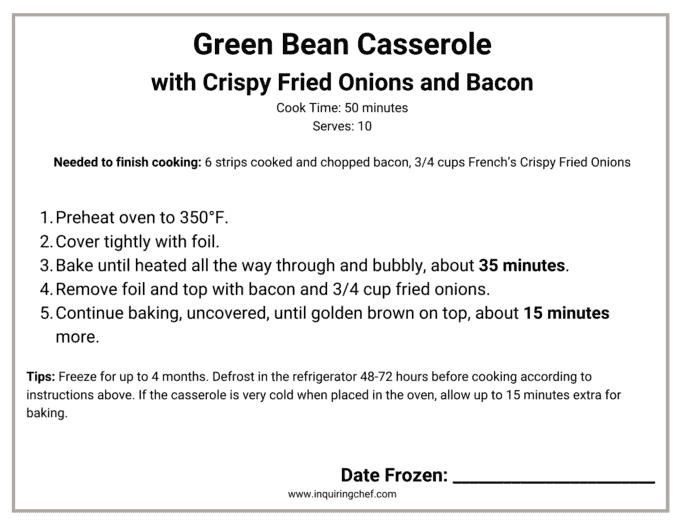 green bean casserole freezer label