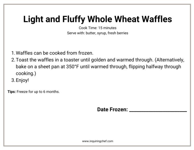 whole wheat waffles freezer label